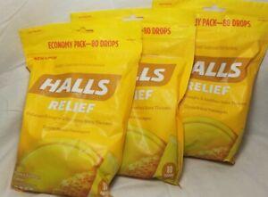 3 X 80 (240) DROPS HALLS JUMBO BAG Relief Honey Lemon Cough  BUY MORE SAVE BIG!!
