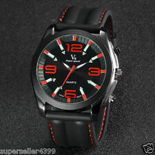 CHEAP red  Men's  Dress Watch Fashion Silicone Strap  Cool Unique  Watch !!