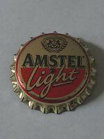 AMSTEL BEER Light Pin Back Light Up Bottle Cap: Vintage Button badge.