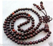 6mm Tibetan Buddhist 108 wood Prayer Bead Mala Necklace