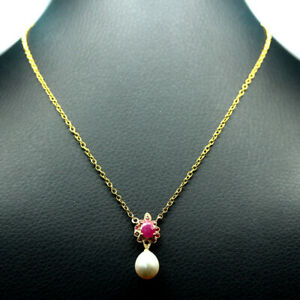 """NATURAL RED RUBY &  WHITE PEARL NECKLACE 17"""" 925 SILVER STERLING"""
