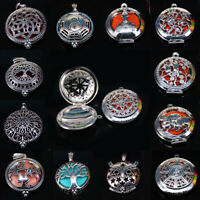 12 Style Silver Steel Locket Scent Essential Oils Diffusers Pendant Home Décor