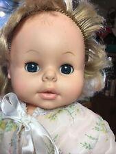 1974 Eegee Vintage Vinyl Baby Doll Cloth Body Sleep Eyes Short Curly Hair 18�
