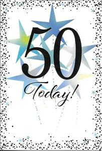 50 Today! Blue Star Birthday Card For Age 50 Male