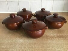 Denby Homestead Brown 5 x Individual Lidded Soup Bowls