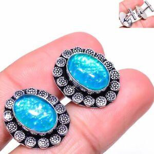 Triplet Fire Opal Gemstone Handmade Ethnic Gift Cufflinks Stnd. b896