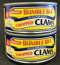 Snows Bumble Bee Chop Clams w/Juice 6.5 oz -2 Pk Best By: 9/2019 Free Ship