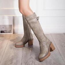 Womens block Heel Knight Knee High Boots Platform buckle strap Side Zipper Shoes