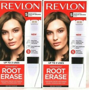 2 Boxes Revlon Permanent Root Erase Matches 5 Medium Brown Shades Up To 3 Uses