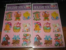 Vtg lot 2 packs paper magic group easter stickers nos 80s duck lamb sealed