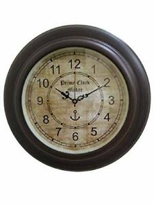 Antique Nautical Round Wall Clock Steel Time Style Wooden 13 inches Vintage