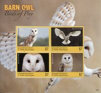 Grenada Grenadines 2018 MNH Barn Owl Birds of Prey 4v M/S Owls Stamps