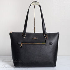 NWT Coach F79608 Crossgrain Leather Gallery Tote in Black