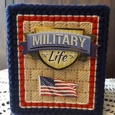 MILITARY FAMILY LIFE - HANDMADE - TISSUE BOX COVER - BOUTIQUE - PLASTIC CANVAS