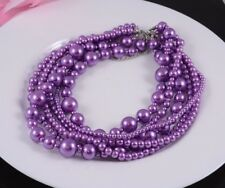 SHORT LENGTH MULTI-STRAND PURPLE VARIOUS SIZED GLASS PEARL NECKLACE