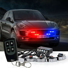 8 LED Car Truck Wireless Red Blue Warning Light Strobe Lights Bars Dash Grill US