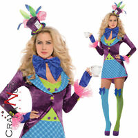 Deluxe Ladies Mad Hatter Costume Womens Fancy Dress Alice Wonderland Outfit New