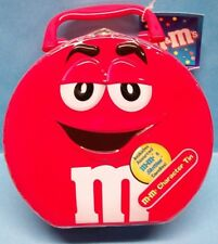 Official M&M's & Skittles Red Candy Character Metal Lunch Box Tin Tote Sealed