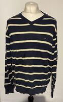 Tommy Hilfiger Men's Jumper Pullover V Neck Blue Striped Medium 100% Cotton Mark