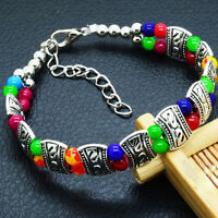 Elegant High Quality New Tibet Silver Multicolor Jade Turquoise Bead BraceletW&T