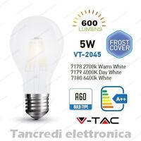 Lampadina led V-TAC 5W E27 VT-2045 A60 frost bianca filamento lampada opaca