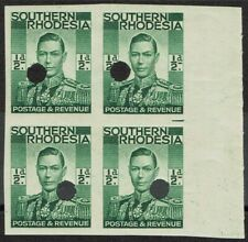 SOUTHERN RHODESIA 1937 KGVI 1/2D IMPERF PROOF BLOCK MNH **