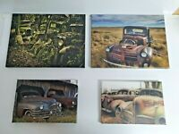 4 RUSTY OLD ABANDONED CAR VINTAGE BOX CANVAS PRINT WALL ART PICTURE AMERICAN RAT
