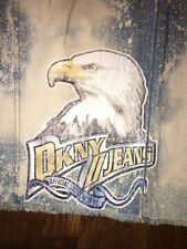 DKNY Denim Vintage Skirt Size 1 Frayed Hem Bleach Splatter Eagle CUTE!!!