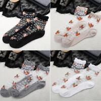NEW Women's Sexy Cotton Ultrathin Transparent Crystal Lace Elastic Short Socks