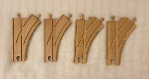 Wooden Railway 4 Curved Interchanging Track Pieces (compatible with Brio)