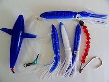 DAISY CHAIN BAIT RIG BULB SQUID & BIRD TUNA MARLIN TROLLING LURES-BLUE