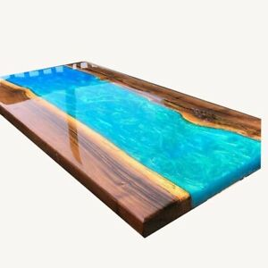 Blue Wooden Furniture Made Walnut  And  Epoxy  Resin Table Dining Top Decorativ