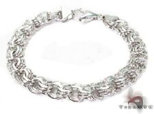 Ladies Women 14k White Gold 6inches 9mm Jewelry Link Bracelet 20.70 grams