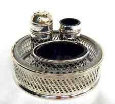 Antique Edwardian Silver Plate / Plated Cruet Set with Cobalt Blue Glass Liners