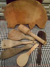 New listing Lot 7 pcs Primitive wood Kitchen Vintage Tools Butter Paddle Masher Pig board