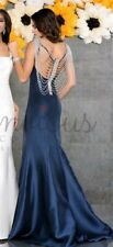 JOVANI STYLE SATIN PROM EVENING GOWN IN NAVY WITH BEADED BACK SIZE 6 BNWT