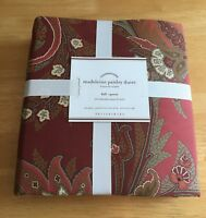 POTTERY BARN MADELEINE PAISLEY FULL/QUEEN DUVET COVER ~RED~ SOLD OUT & RARE!