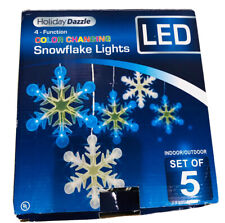 Set 5 LED Cool White Blue 25000 Hours Snowflakes Color Changing Christmas Lights