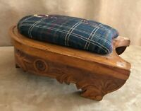 Antique Horseshoe Footrest Wooden Padded Footstool carved rest equestrian horse