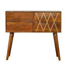 Mid Century Dark Wood Console Table With Gold Wired Detail & Drawers