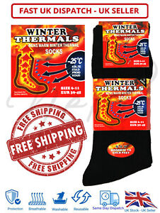 Mens Winter Thermal Warm Socks Work Black 1-12 Pairs Boot Socks UK 6-11 Outdoor