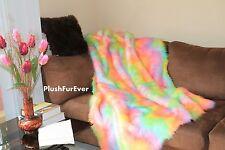 "60"" x 72"" Luxury Rainbow Fake Fur comforters throws blankets bedding home decor"