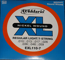 D'ADDARIO,  NICKEL WOUND EXL110-7 REGULAR LIGHT/7-STRING SET