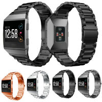 Large Stainless Steel Folding Clasp Watch Wrist band Strap for Fitbit Ionic