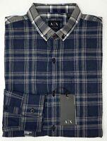 NWT $79 Armani Exchange Navy Blue Plaid LS Shirt Regular Fit Mens S M L XL XXL