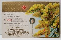 A Happy Birthday The Golden Rod Points to Wealth Postcard B3