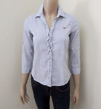 Hollister Women Striped Button Down Shirt Top Size XS Blouse Ruffled Blue White