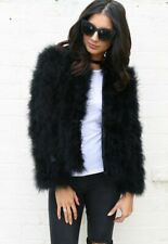 STUNNING OSTRICH FEATHER JACKET IN BLACK - AVAILABLE IN MEDIUM AND LARGE