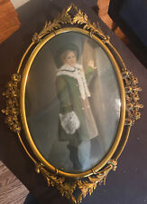 """Vintage 26""""x19""""� Antique Oval Picture Frame Ornate Metal w/Bubble Glass"""