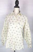 Banana Republic Womens Button Up Shirt Blouse Sz M Beige & Blue Floral Cotton